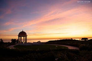first dance at sunset, wedding at the pelican hill resort in newport coast