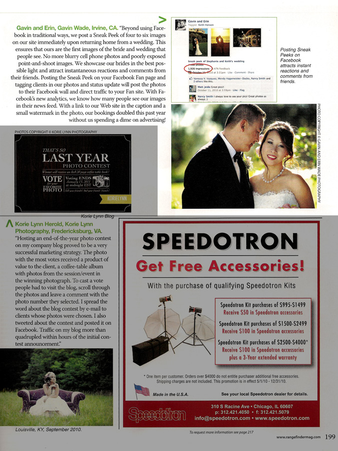 Rangefinder wedding photography article, gavin wade photographers, Facebook marketing for photographers