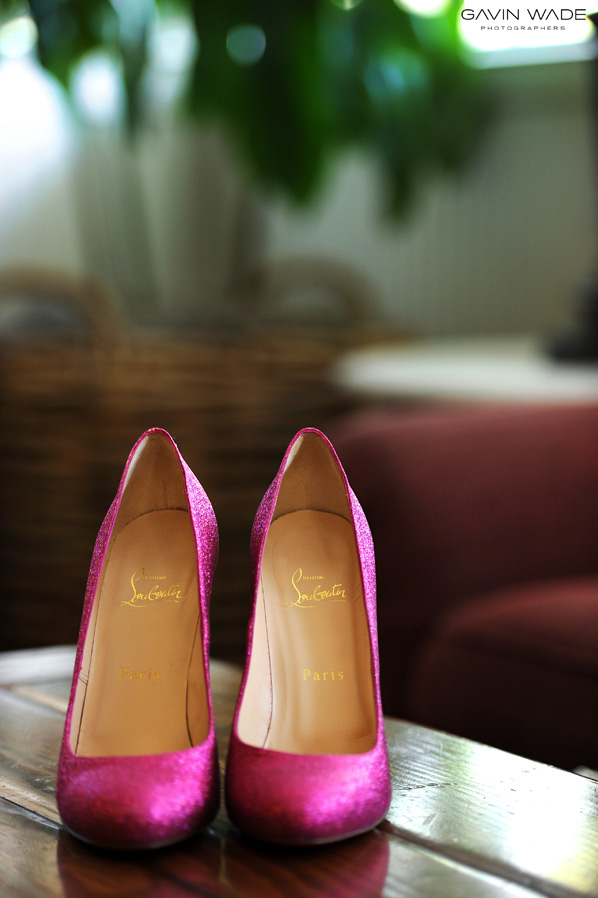 strawberry farms wedding, Christian Louboutin pink wedding shoes