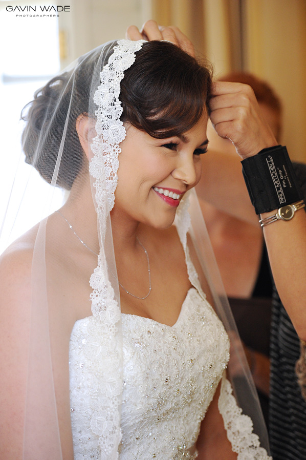 A gorgeous bride at the Millenium Biltmore Hotel in Los Angeles